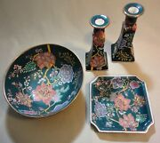 Vintage Set Bowl Plate 2 Candle Holders W/ Flowers And Designs- Andrea By Sadek