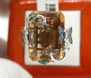 18k Gold Yellow Topaz Estate Cocktail Ring W/ Color Stones Butterfly And Flowers