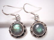 Round Labradorite With Circle Accents 925 Sterling Silver Dangle Earrings N131a