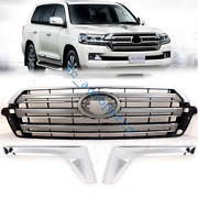 3pcs Front Grill Grille + Light Brow For Toyota Land Cruiser Fj200 Lc200 2016+