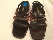 Womens 7.5 B M Paloma Italy Brown Leather Sandals Pump Low Heels