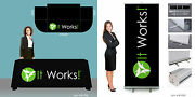 It Works Global Wraps Table Cover 6ft And Retractable Banner 7ft Tall.