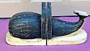 Pair Vintage Alaskan Wood Hand Carved Painted Bookends Whales Shape 2
