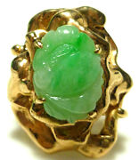 14k Yellow Gold Jade Carved Flower Chinese Export Oriental Lotus Statement Ring