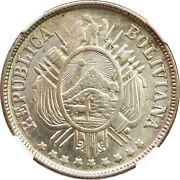 Bolivia 50 Centavos 1873 Pts Ngc Unc Details Hairlines. Km 161.1