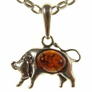 Amber Sterling Silver 925 Taurus Bull Astrology Pendant Necklace Chain Jewellery