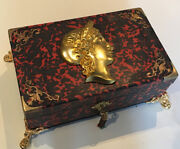 Antique French Ormolu Red Tortoise Shell Boulle Writing Box Slope