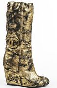 New Metallic Gold Black Jeweled Shoes Wedge Boots 35 37.5 39 40.5