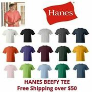 Hanes Beefy-t Menand039s Cotton T-shirt 6.1 Oz Short Sleeve 5180 S-3xl 25 Colors New