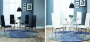 Contemporary 5pc Dining Set Kitchen Dining Room Glass Top Shinny Chrome Legs