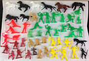 Vintage Indian And Horses Plastic Figures 2.5-3 Lot Of 50