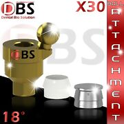 30x Dental Angled Ball Attachment 18anddeg + Silicon Cap + Metal Housing For Implant