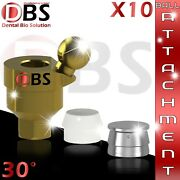 10x Dental Angled Ball Attachment 30anddeg + Silicon Cap + Metal Housing For Implant