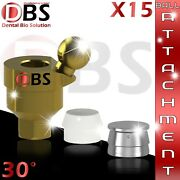 15x Dental Angled Ball Attachment 30anddeg + Silicon Cap + Metal Housing For Implant