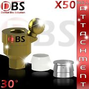 50x Dental Angled Ball Attachment 30anddeg + Silicon Cap + Metal Housing For Implant