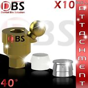 10x Dental Angled Ball Attachment 40anddeg + Silicon Cap + Metal Housing For Implant