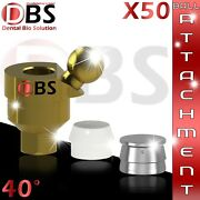 50x Dental Angled Ball Attachment 40anddeg + Silicon Cap + Metal Housing For Implant