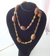Vtg 60s Rare African Art Natural Wood Ruffle Beads Couture Fashion Necklace