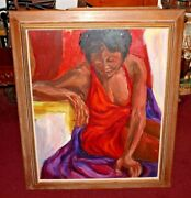 Original Oil Painting Scantily Dressed Black Woman Abstract Vibrant Colors Large