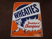 Rare 9 X 11-1/2 Ande Rooney Wheaties Breakfast Of Champions Porcelain Sign