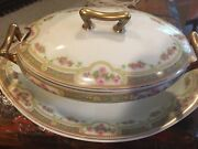 Limoges China Set White With Pink Flowers Very Good Condition. Andnbsp