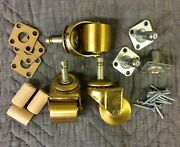 Brass Wheel Caster Kit/set For Grand/baby Grand Pianos - 3 Casters+hardware
