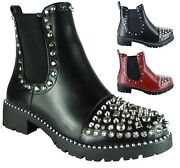 Ladies Party Work Casual Comfort Ankle Zip Studded Chelsea Dealer Boots Shoes Sz