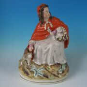 Large Staffordshire Red Riding Hood And Wolf Figure