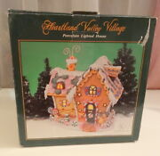 Vtg Rare Light Up Holiday Valley Gingerbread Cookie Christmas Tree House Vilage