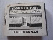 K And H Restaurant Good Food Homestead Pennsylvania Full Matchbook Pa