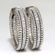 1.00ct Natural Diamond Hoop Earrings 14kt G/vs Barley Rope Twist 3d And Button+