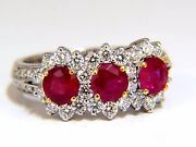 2.52ct Natural Vivid Red Ruby Diamonds Ring 14kt Three Stone Halo Class+