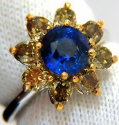 3.16ct Natural Royal Blue Round Sapphire Fancy Color Diamonds Cluster Ring+