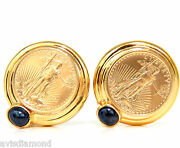 1996 American Liberty Fine Gold Coin Sapphire Earrings Classic Omega+