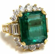 Gia Certified 17.60ct Natural Green Emerald Diamonds Ring 18kt F1 +
