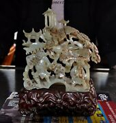 Old Chinese Hetian Jade Hand Carved Pine Trees Pine Trees Boy Decoration Statue