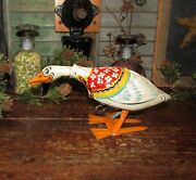 Antique Vtg 1930's Unique Art Tin Wind Up Gertie Galloping Goose Lithograph Toy