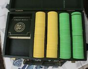 200 Rare Vintage Gambling Poker Clay Chips Set Hilton Casino Green Case And Yellow