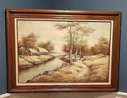 C Inness Signed Orig. Oil Painting Woodland Landscape River Woman Horse 44x32