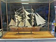 Huge Handmade Wooden Model Ship Cutty Sark In Display Case Extremely Detailed