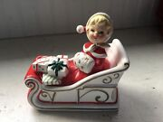 Vintage 2 Pc Lefton Girl In Sleigh Christmas Covered Candy Dish 1582