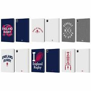 Official England Rugby Union Typography Leather Book Wallet Case For Apple Ipad