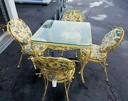 Vintage Woodard Wrought Iron Out Door Patio Set Table Chairs