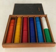 Vintage Gaming Chips Bakelite/catalin 7 Colors In Denominations Wood Case
