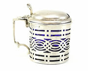 1904 Chester Sterling Silver Blue Glass Lined Condiment Jar Nathan And Hayes 29.3g