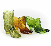 3pc Fenton Miniature Art Glass Shoes In Green, Lime Green And Amber C1940