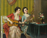 S R Shaefer Continental 19th / 20th C. Oil Painting Musical Duet Classical