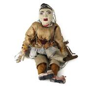 Wood Carved And Painted 5-stringed Puppet Of Woman Medieval Attire