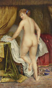 Fine Classical Watercolor Of Nude Beauty Signed Late 19th Or Early 20th Century