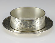 1950s J.e. Caldwell And Co. Sterling Silver Childand039s Bowl W/ Saucer Circus Animals
